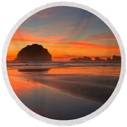 Fiery Bandon Beach Round Beach Towel by Adam Jewell