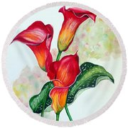 Fiery Callas Round Beach Towel