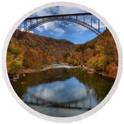 Fiery Colors At New River Gorge Bridge Round Beach Towel
