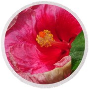 Fiery Hibiscus Round Beach Towel