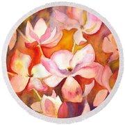 Fiery Magnolias Round Beach Towel