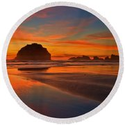 Fiery Ocean Stream Round Beach Towel by Adam Jewell
