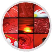 Fiery Red Round Beach Towel