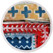 Fiesta 3- Colorful Pattern Painting Round Beach Towel
