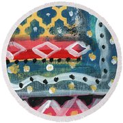 Fiesta 4- Colorful Pattern Painting Round Beach Towel