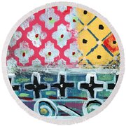 Fiesta 6- Colorful Pattern Painting Round Beach Towel by Linda Woods