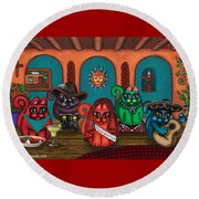 Fiesta Cats II Round Beach Towel