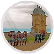 Fife And Drum Parade In Louisbourg Living History Museum-1744-ns Round Beach Towel