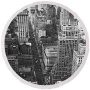 Fifth Avenue In New York City. Round Beach Towel