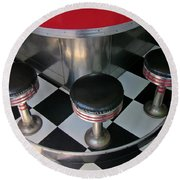 Fifties Diner Detail Round Beach Towel