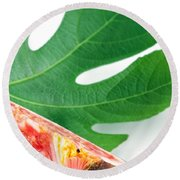 Fig And Leaf Round Beach Towel