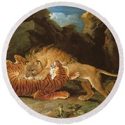 Fight Between A Lion And A Tiger, 1797 Round Beach Towel by James Ward