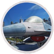 Fighting Falcon At Interpid Museum Round Beach Towel