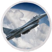 Fighting Falcon Round Beach Towel
