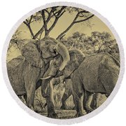fighting male African elephants Round Beach Towel