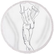 Figure Drawing Study I  Round Beach Towel