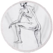 Figure Drawing Study II Round Beach Towel by Irina Sztukowski