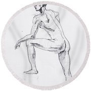 Figure Drawing Study II Round Beach Towel