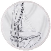 Figure Drawing Study V Round Beach Towel by Irina Sztukowski