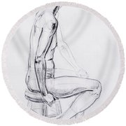 Figure Drawing Study V Round Beach Towel