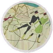 Figure Skating  Christmas Card Round Beach Towel by American School