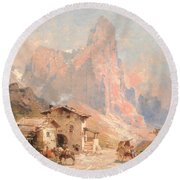 Figures In A Village In The Dolomites Round Beach Towel