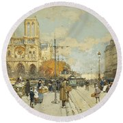 Figures On A Sunny Parisian Street Notre Dame At Left Round Beach Towel