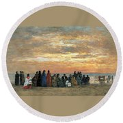 Figures On The Beach In Trouville Round Beach Towel