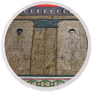 Figures Used To Teach Thai Massage In Wat Po In Bangkok-thailand Round Beach Towel