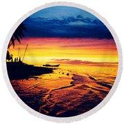 Fiji Paradise Sunset Round Beach Towel