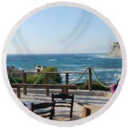 Fiki Cafe Round Beach Towel