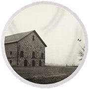 Filley Stone Barn 2 Round Beach Towel