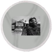 Film Homage Barbara Payton Bride Of The Gorilla 1951 Gorilla Pitchman Tucson Arizona July 4th 1991 Round Beach Towel
