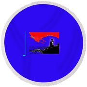 Film Homage Cary Grant Biplane Collage Publicity Photo North By Northwest 1959-2012 Round Beach Towel