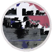 Film Homage Dirty Dingus Magee Collage Number 2 1970-2012 Mescal Arizona Round Beach Towel