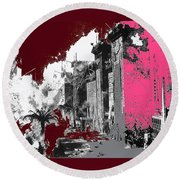 Film Homage D.w. Griffith Intolerance 1916 Fall Of Babylon 1916-2012  Round Beach Towel