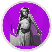 Film Homage Jean Rogers Dale Arden Flash Gordon Serial 1936 Publicity Photo Color Added 2008 Round Beach Towel