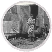 Film Homage The Grapes Of Wrath 1 1940 Family In Shack Perhaps Eloy Arizona 1940-2008 Round Beach Towel