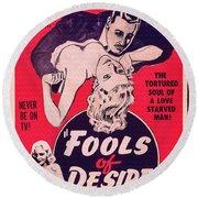 Film Poster Fools Of Desire 1930s Round Beach Towel