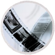 Film Strips Round Beach Towel by Tommytechno Sweden