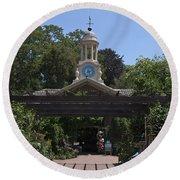 Filoli Clock Tower Garden Shop Round Beach Towel