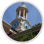 Filoli Garden Clock Tower Round Beach Towel