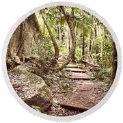 Filtered Forest Round Beach Towel