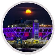 Final Moon Over The Pier Round Beach Towel