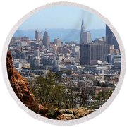 Financial District From Corona Heights Round Beach Towel