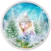 Finding Santa Round Beach Towel by Mo T