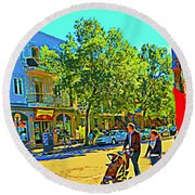 Fine Day For Baby Strollers And Bikes Art Of Montreal Street Scene Across Maitre Gourmet Cafe Round Beach Towel