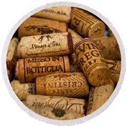 Fine Wine Corks Round Beach Towel
