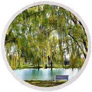 Finger Lakes Weeping Willows Round Beach Towel