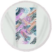 Finger Paint Round Beach Towel